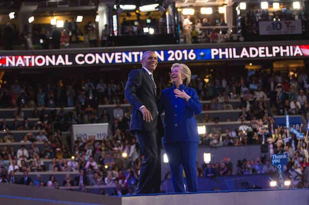 President Barack Obama and Hillary Clinton on stage at the Democratic National Convention on Wednesday night. (Image via the convention's Facebook page). Read more at http://www.prweek.com/article/1403914/breakfast-briefing-5-need-to-know-stories-dnc
