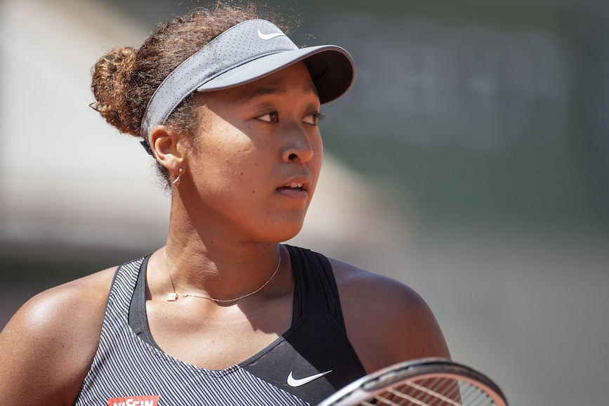 Naomi Osaka in the first round of the French Open. (Photo credit: Getty Images).