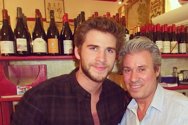 Les Gourmets des Ternes: Owner of the Paris branch Jean-Francois Marie (right) with actor Liam Hemsworth