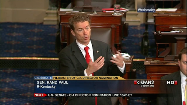 Sen. Rand Paul speaking on the Senate floor. (Image via Wikipedia commons)