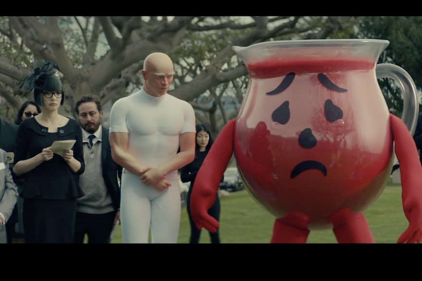 Mr. Clean and Kool-Aid Man attend Mr. Peanut's funeral.