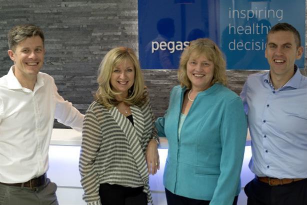 Simon Hackett and Lisa Bradley (Pegasus) with Viv Adshead and David Moore (Ashfield Healthcare Communications)