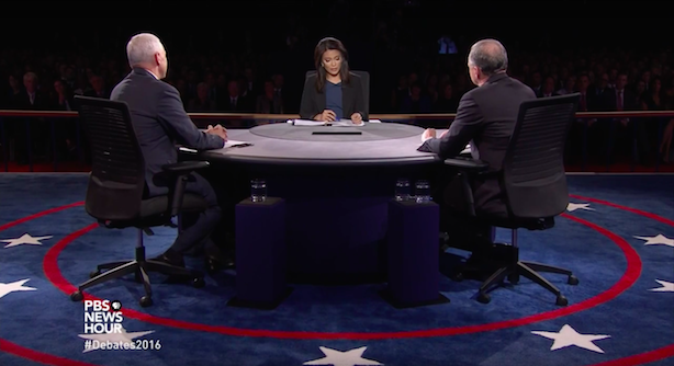 Mike Pence and Tim Kaine in Tuesday night's vice presidential debate. (Screenshot via PBS NewsHour's YouTube account).