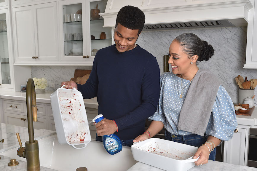 Pitching in: Actors and real-life couple Cory Hardrict and Tia Mowry-Hardric.