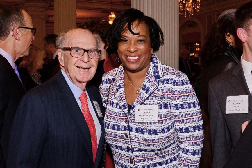L-R: Harold Burson and mentee Cheryl Procter-Rogers. (Image via Procter-Rogers' LinkedIn account)