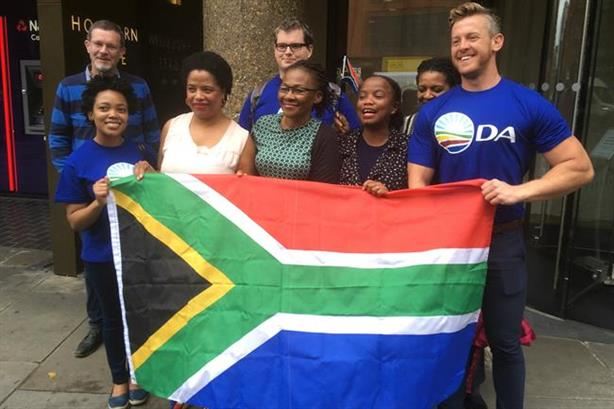 Members of South Africa's Democratic Alliance outside Bell Pottinger's former London HQ last August