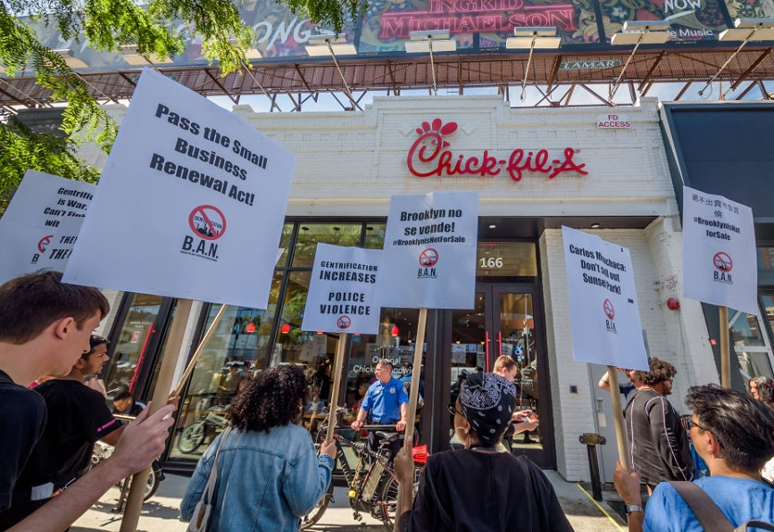 Protests outside a Chick-fil-A in Brooklyn. (Photo credit: Getty Images)