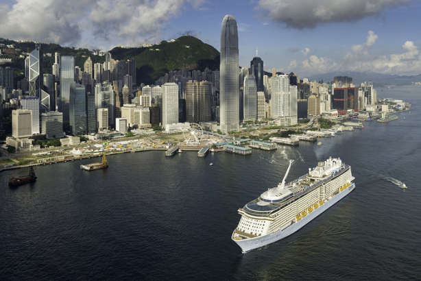 Royal Caribbean's Quantum of the Seas in Victoria Harbour, Hong Kong