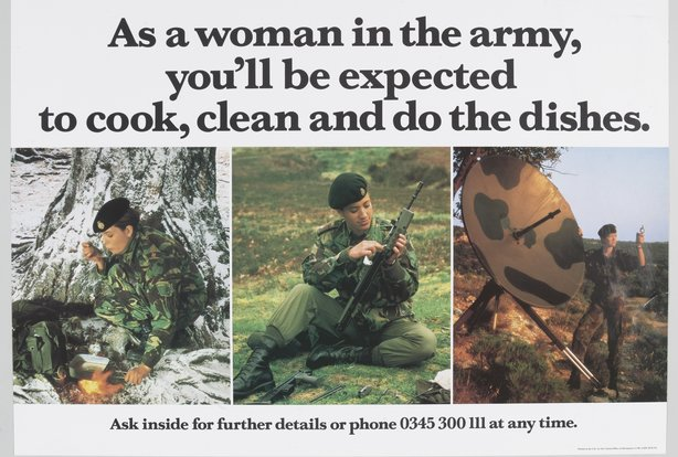 British Army recruitment poster from 1990. One of the exhibits at the National Army Museum
