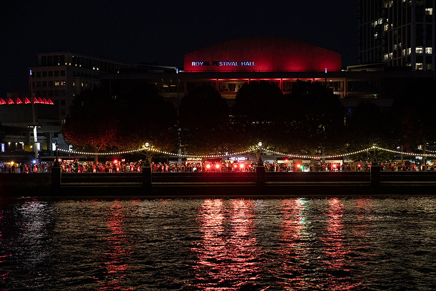 Royal Festival Hall: among venues lit up in red