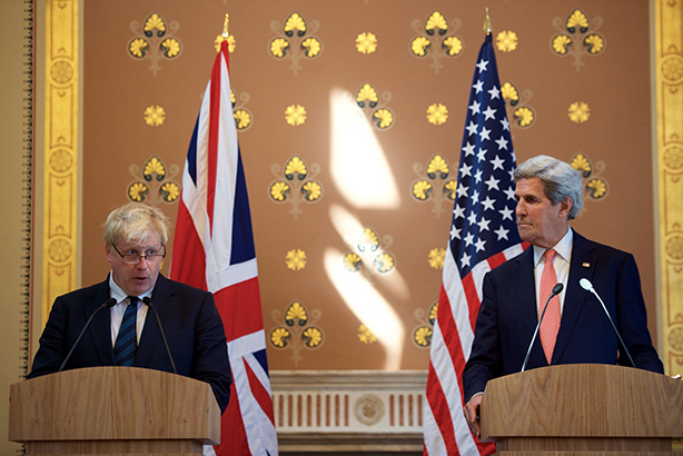 Boris Johnson: Grilled by US media at a press conference with Secretary of State John Kerry earlier this week (credit: State Department Photo/SIPA/REX/Shutterstock)