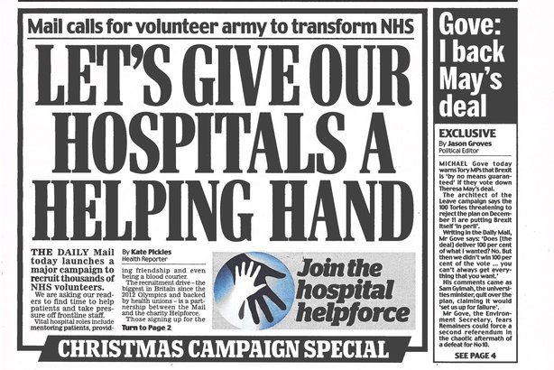 The Daily Mail's front page on 1 December 2018