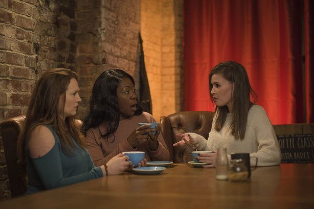Three women discuss real-life stalking scenarios in West Midlands Police's 'We're Talking Stalking' campaign