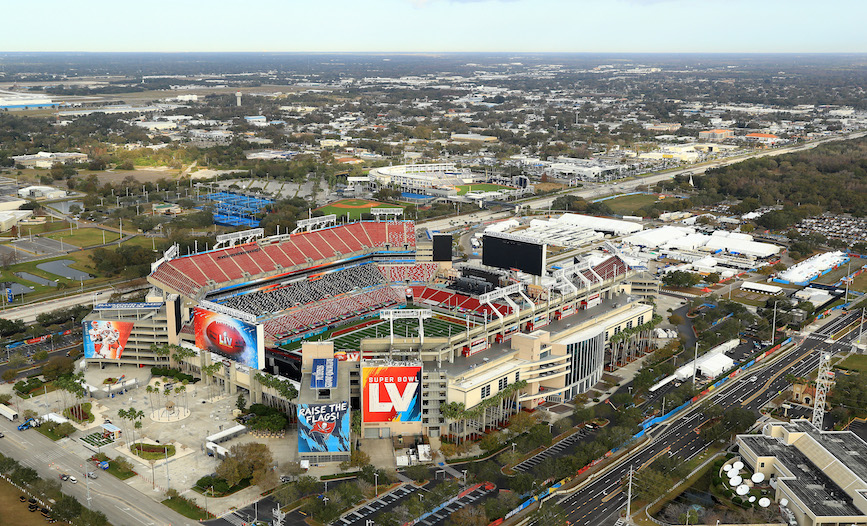 Raymond James Stadium in Tampa, the site of Super Bowl LV. (Photo credit: Getty Images).