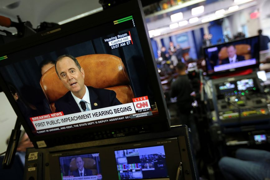 This week's launch of President Trump's impeachment inquiry attracted wall-to-wall TV coverage. (Pic: Getty Images).