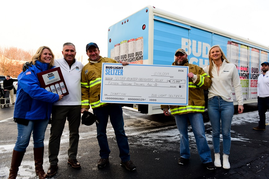 Bud Light made a donation to Seltzer's volunteer firefighting company.