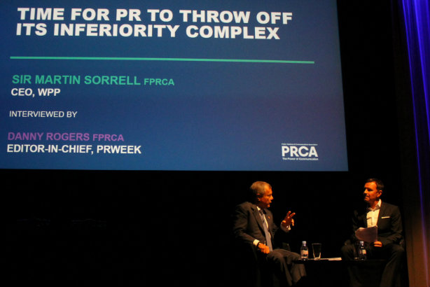 Sir Martin Sorrell is interviewed by Danny Rogers on the stage at the 2016 PRCA Conference