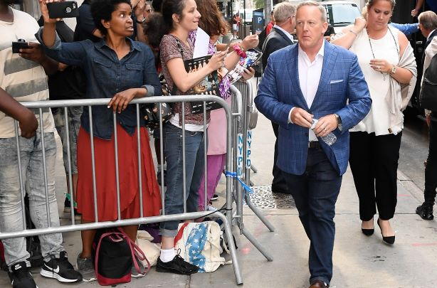 Sean Spicer on Wednesday morning in New York. (Photo credit: Getty Images).
