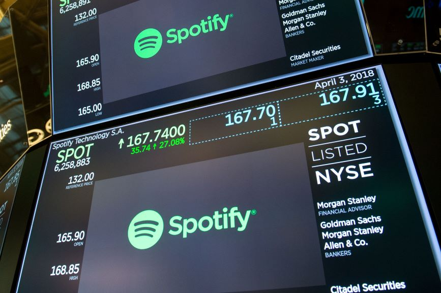 Spotify went public in April 2018 on the New York Stock Exchange. (Photo credit: Getty Images)