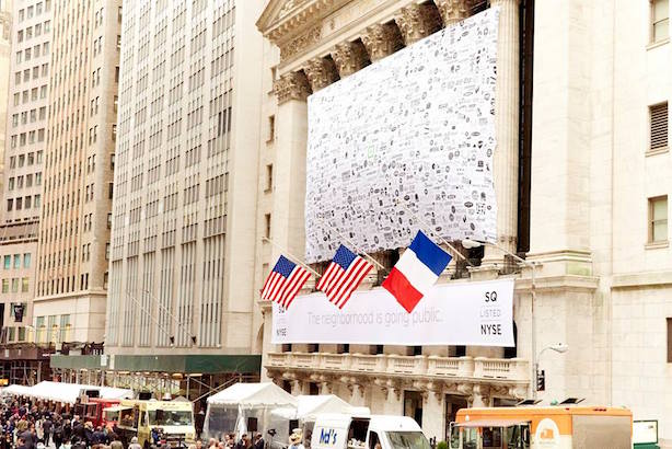 The scene outside the New York Stock Exchange as Square went public on Thursday. (Image via Square's Facebook page).