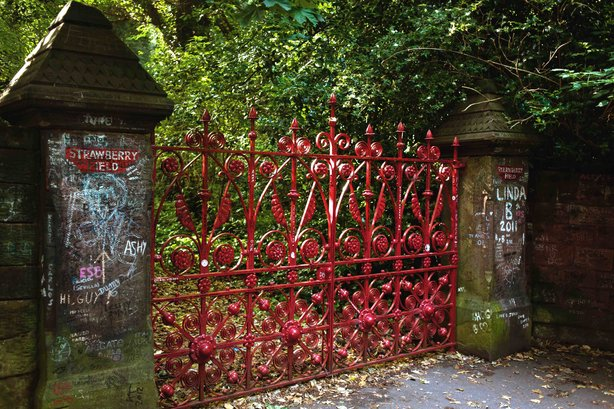 The iconic gates at the disused entrance to Strawberry Field became a mecca for Beatles fans from the 1970s