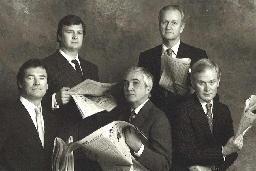 Dewe Rogerson team in 1989 (l to r): Nico Rogerson, Tony Carlisle, Roddy Dewe, David Pollock and John de Uphaugh (pic: Snowdon)