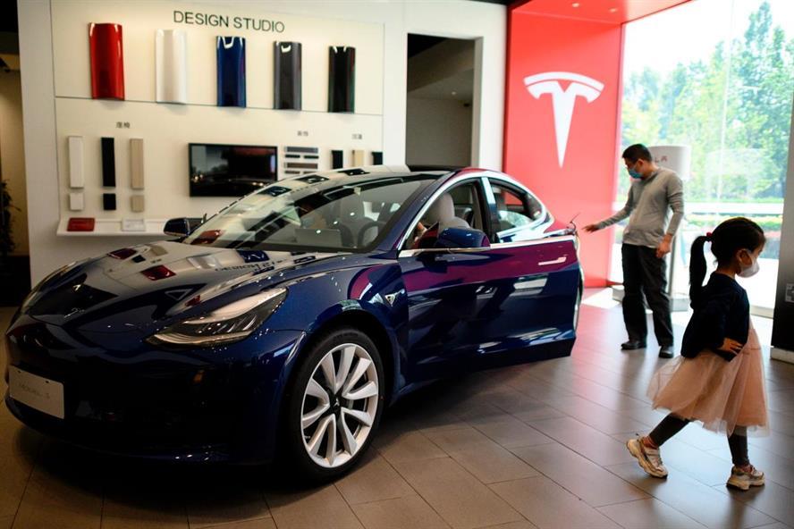 A Tesla showroom in Beijing (Noel Celis/AFP via Getty Images)