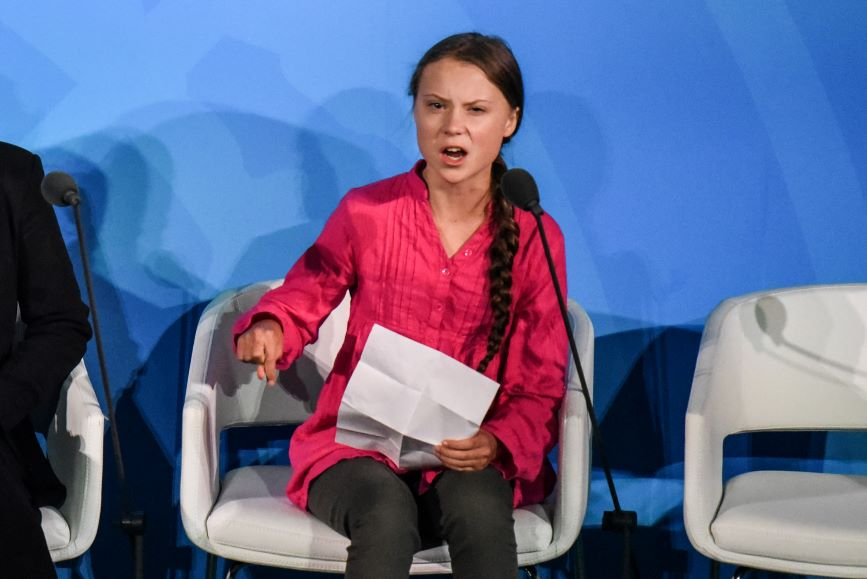 Thunberg speaks at the Climate Action Summit on Monday. (Photo credit: Getty Images)