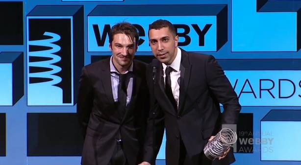 Rad (r) and Tinder co-founder Jonathan Badeen at the Webby Awards. (Image via Tinder's Facebook page).