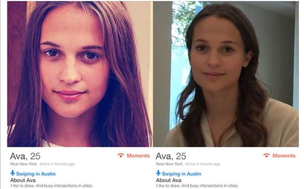 A Tinder profile for a woman named Ava at SXSW turned out to be a native campaign promoting the movie <i>Ex Machina</i>.