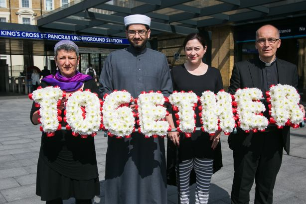 #WalkTogether: 7/7 bombings survivor Gill Hicks (second from right) pictured with faith leaders