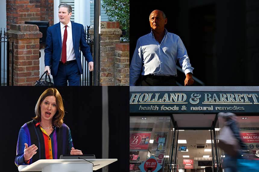 Clockwise from top left: Keir Starmer, Ron Dennis, Holland & Barrett, Catherine Calderwood (©GettyImages)