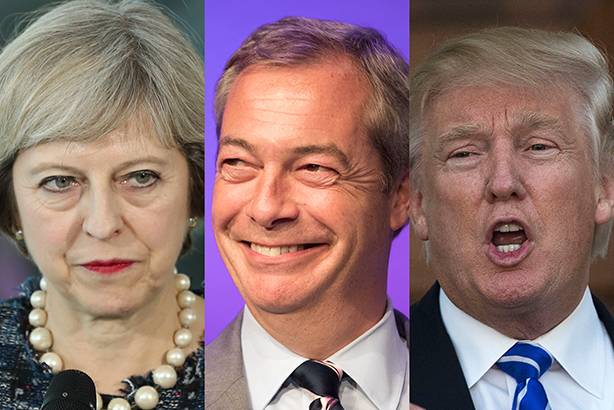 May: in a 'no-win' situation over Farage and Trump (©Sean Gallup/Matt Cardy/Drew Angerer/Getty Images)