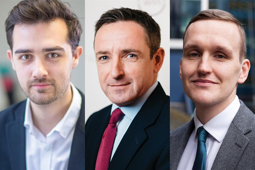 Core team: WPI Strategy's Levelling Up Unit will be led by agency co-founder Sean Worth (centre), with senior consultant Jack Hutchison (L) and Tom Lees, associate (R)