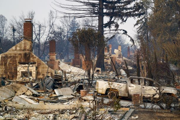 The aftermath of the 2017 Tubbs Fire in Santa Rosa, California. (Photo credit: Getty Images).