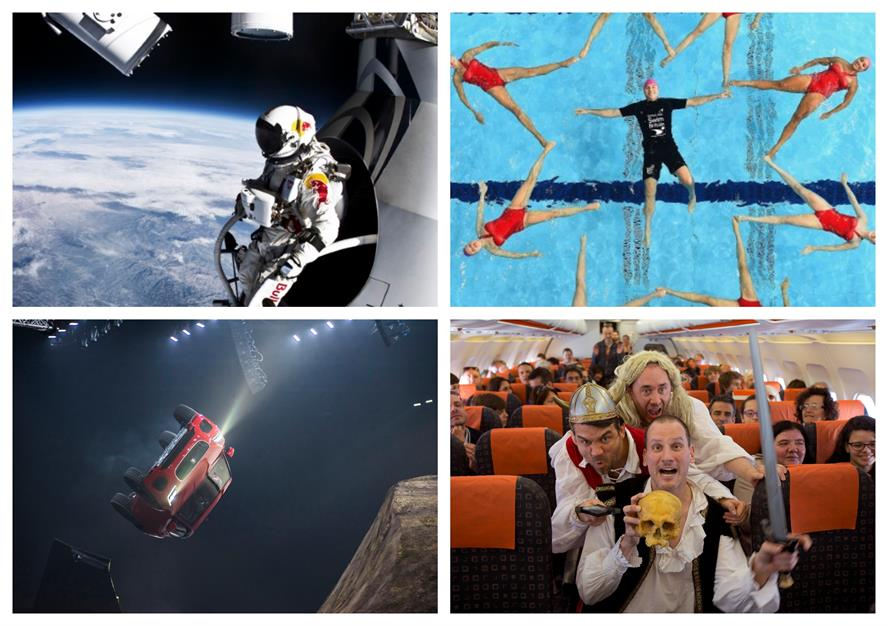TVC campaigns for (clockwise from top left) Red Bull, British Gas SwimBritain, easyJet and Jaguar
