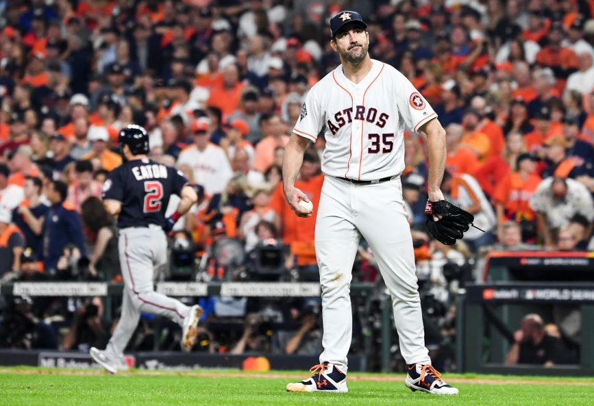 A different kind of frustrated pitcher: Justin Verlander of the Houston Astros after walking the Washington Nationals' Adam Eaton in game six of the World Series (Photo credit: Getty Images)