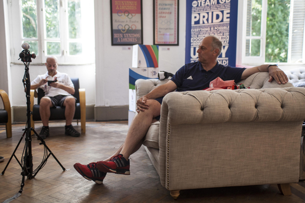 An unfazed Sir Steve Redgrave taking part in our VR interview