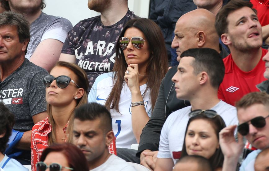 Coleen Rooney (l) and Rebekah Vardy watch their husbands playing for England in 2016. Photo credit: Getty images