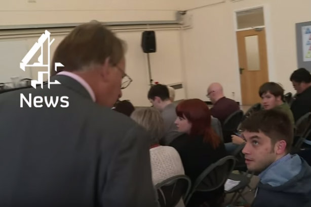 Tory press man Watkinson (right) appears surprised when confronted by Crick