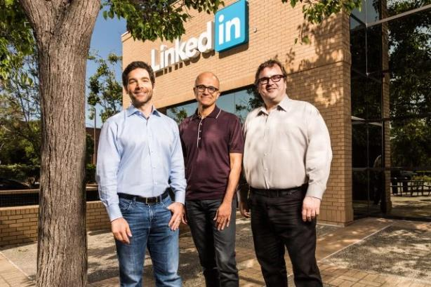 From left: LinkedIn CEO Jeff Weiner, Microsoft CEO Satya Nadella, LinkedIn chairman Reid Hoffman (Image via Microsoft's blog)