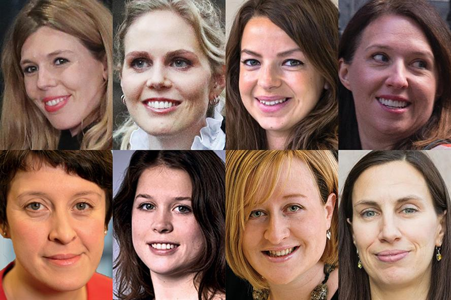 Clockwise, from top left: Carrie Symonds, Cleo Watson, Elin de Zoete, Helen Bower-Easton, Jo Field, Katie Perrior, Laura Sainsbury, Nikki da Costa (Pic credit: Various via The House magazine, DODS Group)