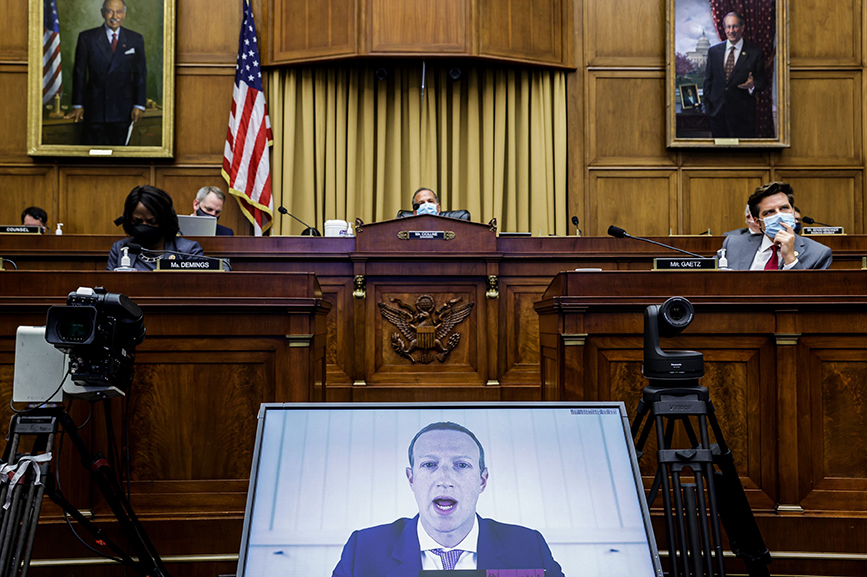 Facebook CEO Mark Zuckerberg testifies before the House Judiciary Subcommittee on Antitrust, Commercial and Administrative Law. Getty Images