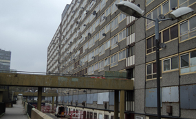 """Tony Fyson: """"Most people do not act criminally because they are too poor for consumer society"""". Heygate estate photo by J@ck!"""