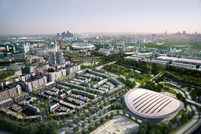A visualisation of the Olympic Park after the planned legacy redevelopment