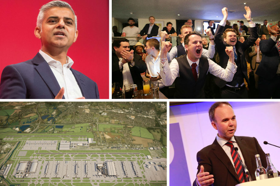 Clocwise from top left: London mayor Sadiq Khan, jubilant Brexit supporters, housing and planning minister Gavin Barwell, Heathrow airport