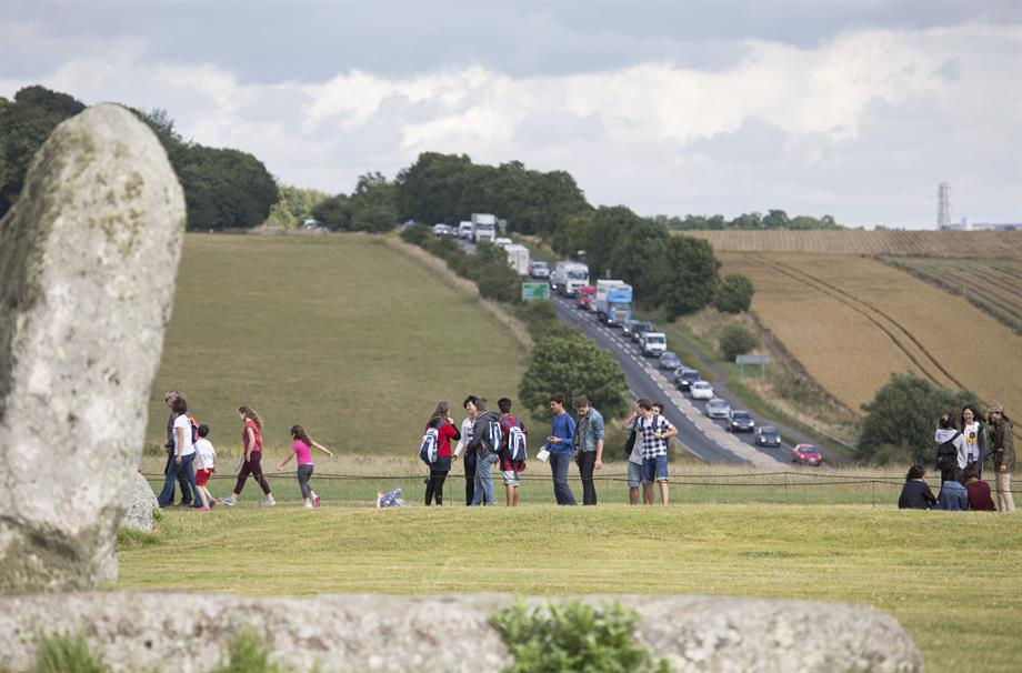 A view of the A303 from Stonehenge.