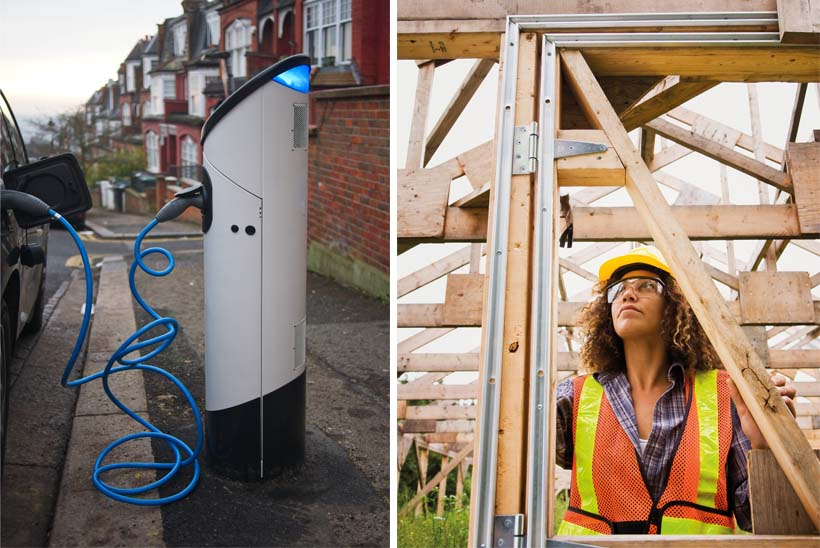 Left: Easy on-street charging will encourage electric car use; right: sustainable building should be supported