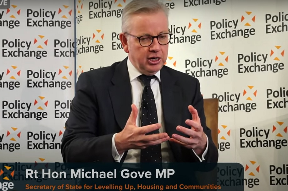 Michael Gove, the new secretary of state for levelling up, housing and communities. Pic: Policy Exhange/YouTube
