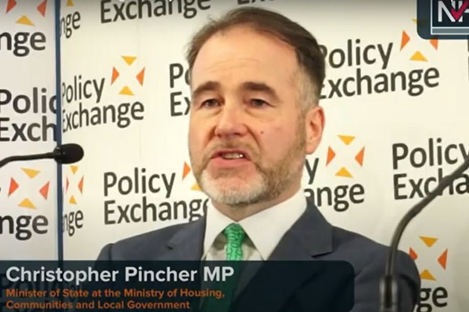 Housing and planning minister Christopher Pincher at the fringe event. Pic: Policy Exchange/YouTube
